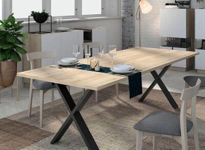 Mesa comedor industrial madera patas negras