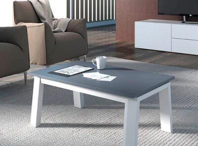 Mesa de centro gris patas blancas
