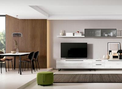 Mueble salón TV grande en color blanco con estante colgante y puertas de cristal