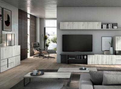 Muebles salón diseño minimalista blancos