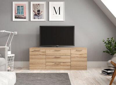 Mueble TV alto con cajones y puertas madera