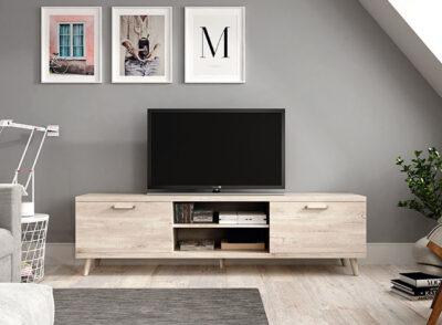 Mueble TV estilo nórdico dos puertas