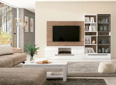 Mueble TV moderno minimalista con estantería madera y blanco