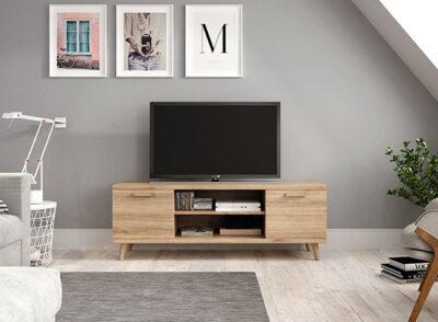 Mueble TV nórdico madera de roble 003KRK36