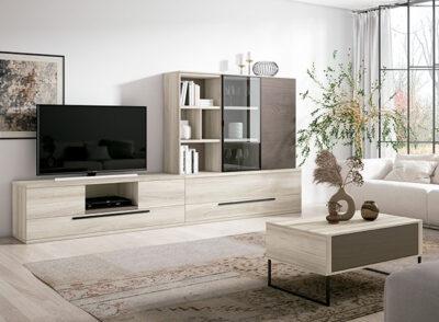 Muebles modulares para salón con mueble bajo TV con cajones y vitrina