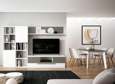 Muebles para TV en blanco con estantería y estante colgante
