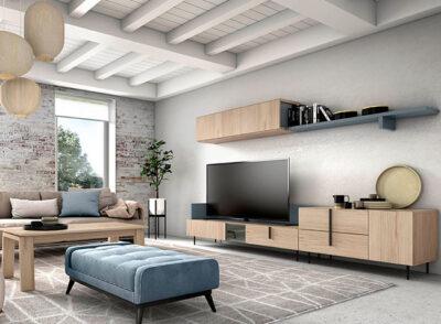 Muebles salón color madera natural con bajo TV y estante colgante
