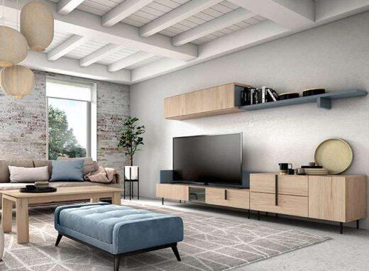 muebles-salon-color-madera-natural-con-bajo-tv-y-estante-colgante-116cl806