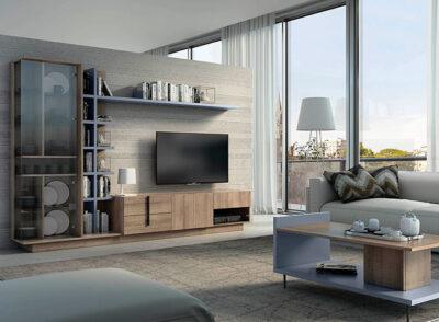 Muebles TV diseño con estantería, estante y vitrina cristal
