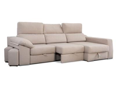 Sofá beige chaiselongue 3 plazas asientos deslizantes 083HAD